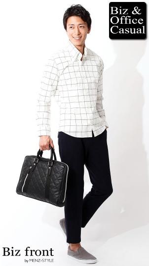 ホワイトウインドウペンチェックシャツ×9分丈カットパンツ