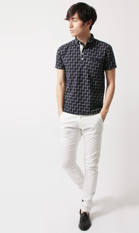 グレンチェッ::ウィンドウペン 総柄半袖ポロシャツ