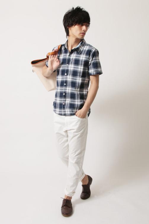 綿麻ストレッチ半袖フレンチリネンシャツ
