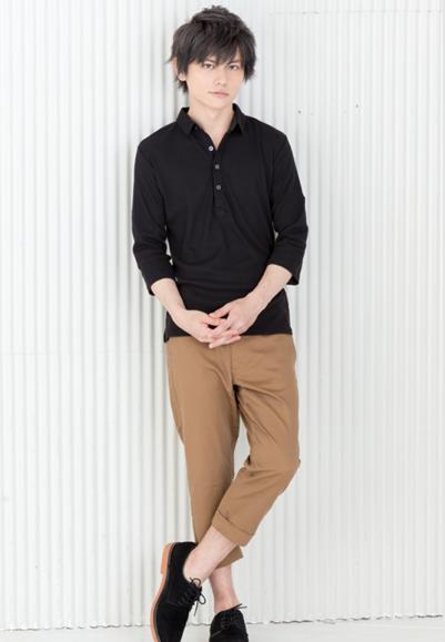 七分袖ポロシャツ×クロップドパンツ(2点セット)