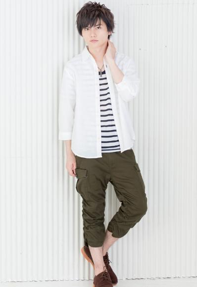 七分袖シャツ+半袖Tシャツアンサンブル×カーゴパンツ(2点セット)