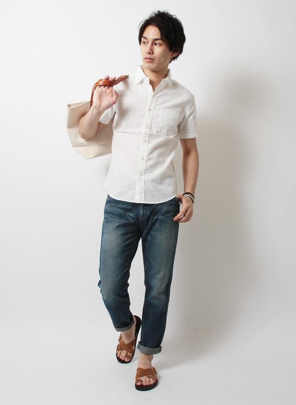 Audience日本製:オックスフォード:ブロード:綿麻:ダンガリーボタンダウン半袖シャツ