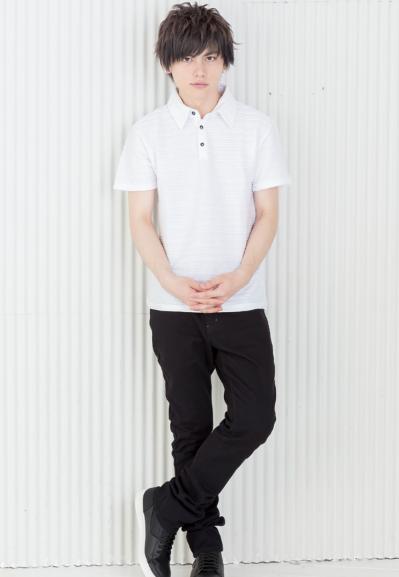 半袖ポロシャツ×スキニーパンツ