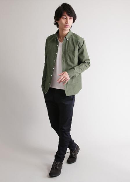 シャツ オックスフォード素材長袖ボタンダウンシャツ